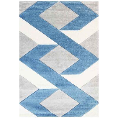 Yalda Reis Modern Rug, 290x200cm, Grey / Blue