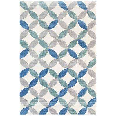 Yalda Agnes Modern Rug, 330x240cm, Ivory / Blue
