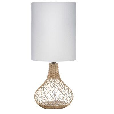 Wesley Rattan & Glass Base Table Lamp