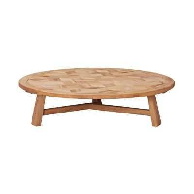 Braxton Elm Timber Round Coffee Table, 140cm
