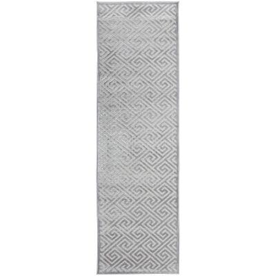 York Alice Modern Runner Rug, 400x80cm, Silver