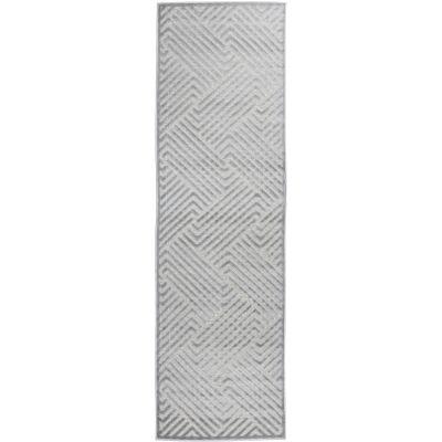 York Cindy Modern Runner Rug, 300x80cm, Silver