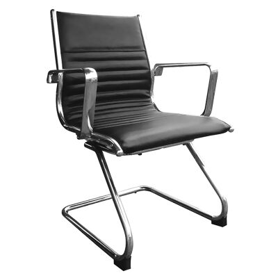 Cogra PU Leather Cantilever Client Chair, Black
