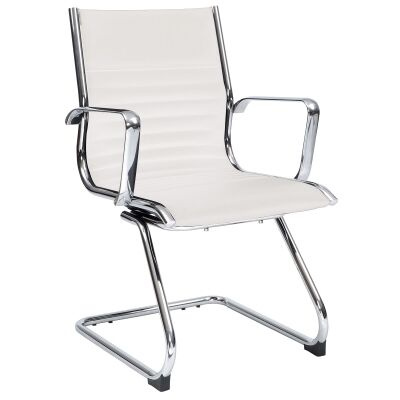 Cogra PU Leather Cantilever Client Chair, White