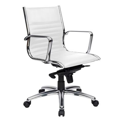 Cogra PU Leather Mid Back Executive Chair, White