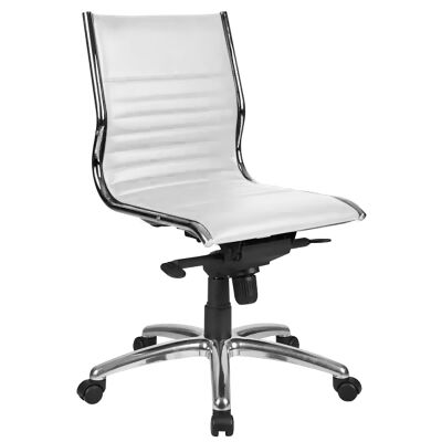 Nordic PU Leather Mid Back Executive Chair, White