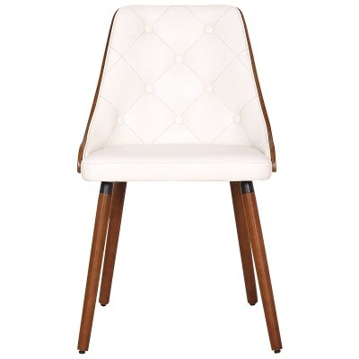 Yvonne Commercial Grade PU Leather & Timber Dining Chair, Walnut / White