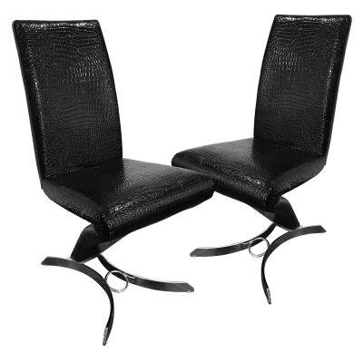 Set of 2 Luson Mock Croc PU Leather Dining Chairs, Black