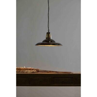 Zetland Enamelled Iron Dish Pendant Light, Medium, Vintage Black
