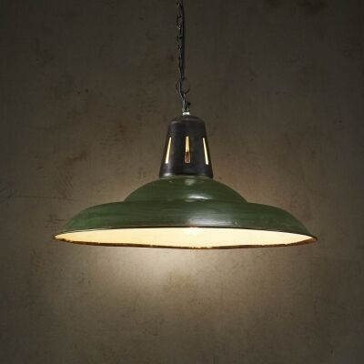 Zetland Enamelled Iron Dish Pendant Light, Medium, Vintage Green