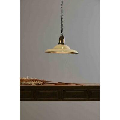 Zetland Enamelled Iron Dish Pendant Light, Meidum, Vintage White