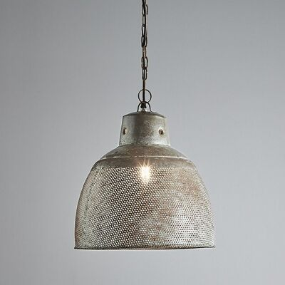 Riva Perforated Iron Dome Pendant Light, Small, Rustic Zinc