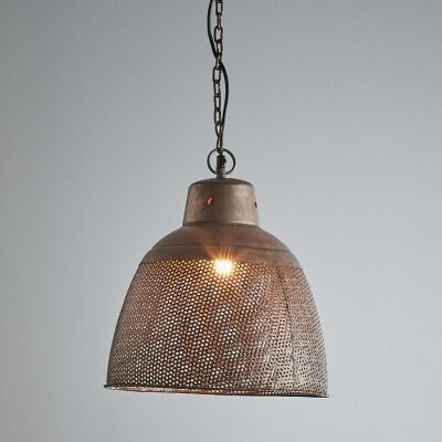 Riva Perforated Iron Dome Pendant Light, Small, Rustic Copper