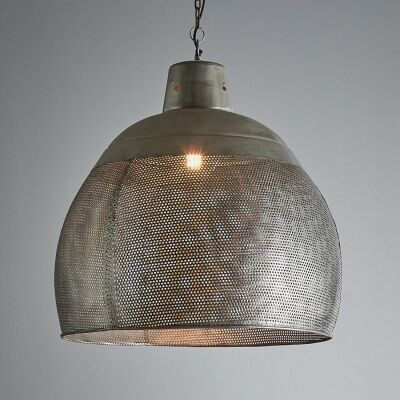 Riva Perforated Iron Dome Pendant Light, Large, Rustic Zinc