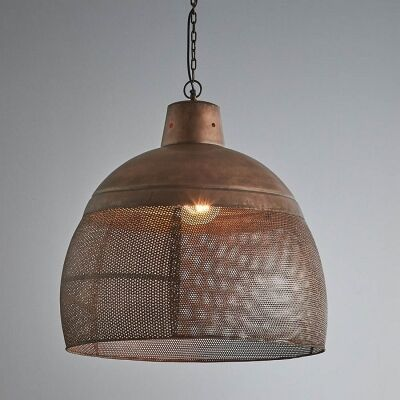 Riva Perforated Iron Dome Pendant Light, Large, Rustic Copper