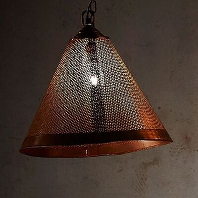 Nico Perforated Iron Cone Pendant Light, Rust