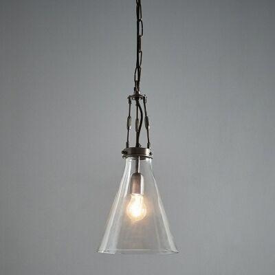 Galveston Glass & Metal Adjustable Pendant Light, Small, Antique Silver