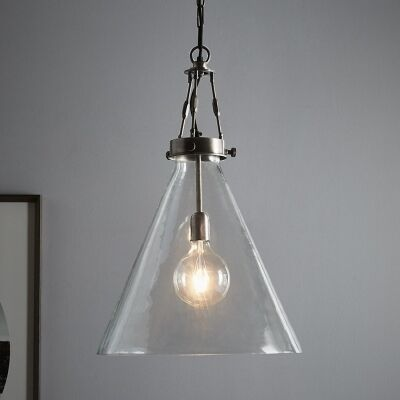 Galveston Glass & Metal Adjustable Pendant Light, Large, Antique Silver