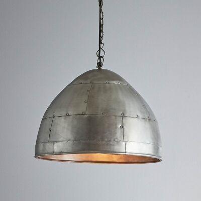 Jermyn Riveted Iron Dome Pendant Light, Medium, Zinc