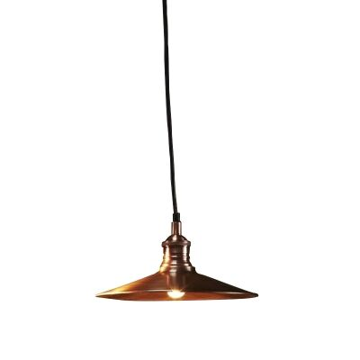 Forbes Metal Dish Pendant Light, Small, Antique Copper