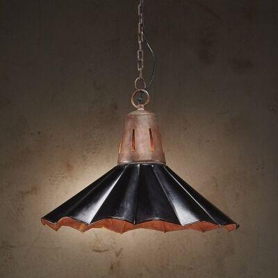 Francis Fluted Iron Pendant Light, Vintage Black
