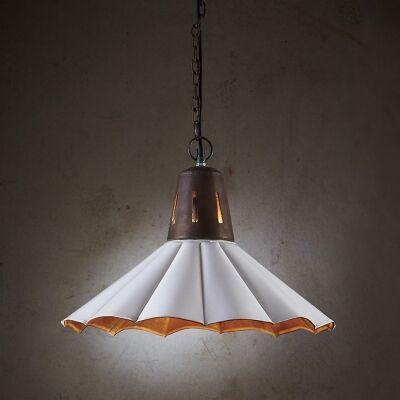 Francis Fluted Iron Pendant Light, Vintage White