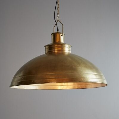 Sheldon Iron Shallow Dome Pendant Light, Antique Brass