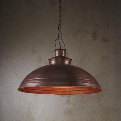 Sheldon Iron Shallow Dome Pendant Light, Antique Copper