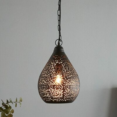 Orion Perforated Metal Pendant Light, Teardrop, Small, Black