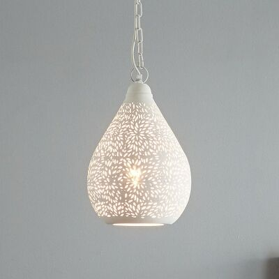 Orion Perforated Metal Pendant Light, Teardrop, Small, White