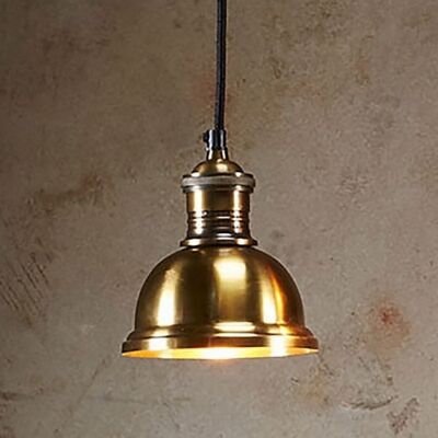 Bourke Metal Pendant Light, Small, Antique Brass