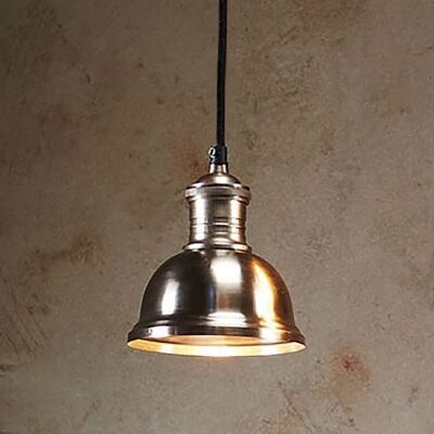 Bourke Metal Pendant Light, Small, Antique Silver