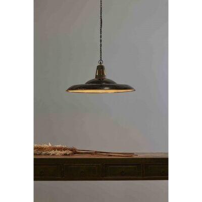 Zetland Enamelled Iron Pendant Light, Large, Vintage Black