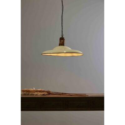 Zetland Enamelled Iron Pendant Light, Large, Vintage White