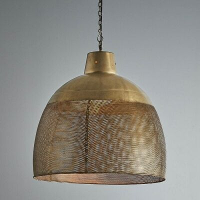 Riva Perforated Iron Dome Pendant Light, Large, Antique Brass