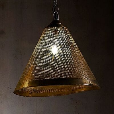 Nico Perforated Iron Cone Pendant Light, Antique Brass