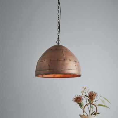 Jermyn Riveted Iron Dome Pendant Light, Small, Antique Copper
