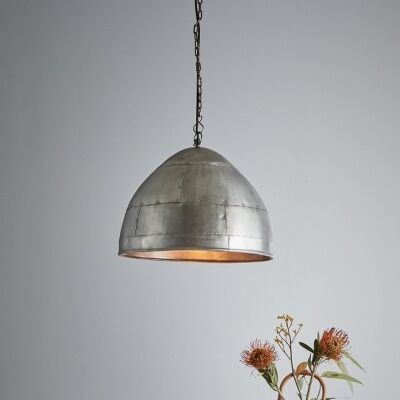 Jermyn Riveted Iron Dome Pendant Light, Small, Zinc