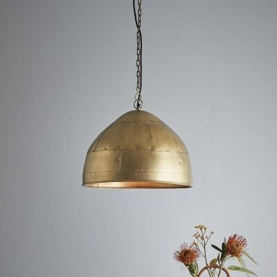 Jermyn Riveted Iron Dome Pendant Light, Small, Antique Brass