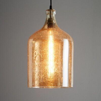 Lustre Glass Pendant Light, Flagon, Pale Gold