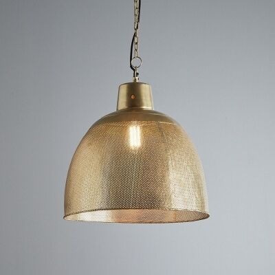 Riva Perforated Iron Dome Pendant Light, Medium, Antique Brass