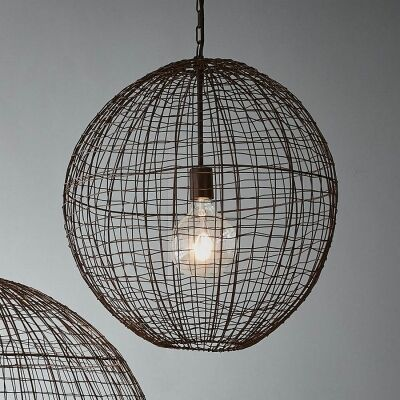 Cray Metal Wire Pendant Light, Ball, Medium
