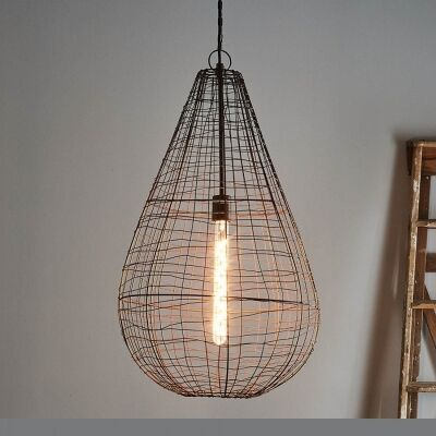 Cray Metal Wire Pendant Light, Teardrop, Large