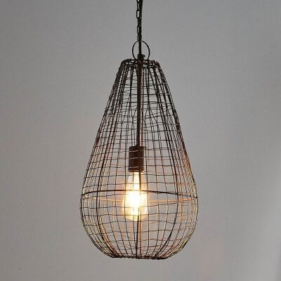 Cray Metal Wire Pendant Light, Teardrop, Small