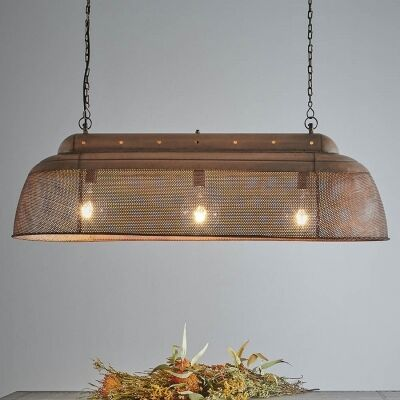 Riva Perforated Iron Elongated Pendant Light, Antique Copper