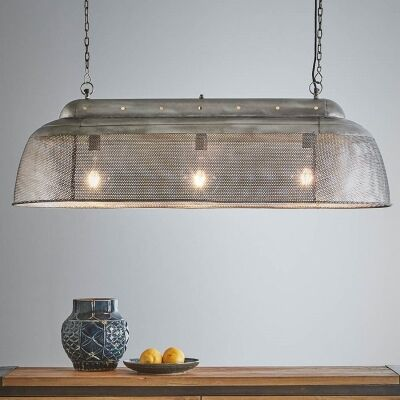Riva Perforated Iron Elongated Pendant Light, Small, Zinc
