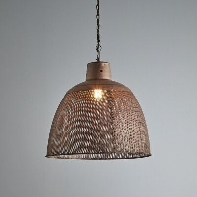 Riva Perforated Iron Dome Pendant Light, Medium, Antique Copper