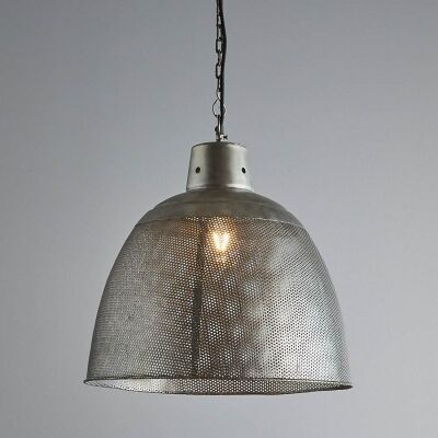 Riva Perforated Iron Dome Pendant Light, Medium, Zinc