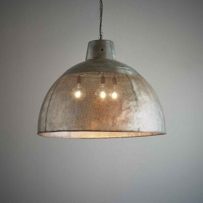 Riva Perforated Iron Dome Pendant Light, Extra Large, Zinc