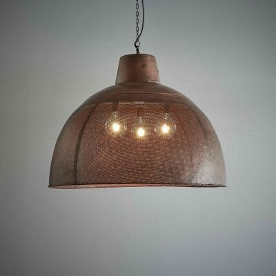 Riva Perforated Iron Dome Pendant Light, Extra Large, Antique Copper